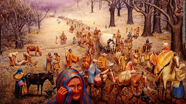 The Cherokee tribe was driven out of its ancestral lands in Georgia in the 1830s.