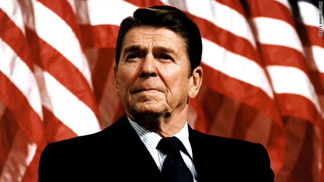 President Ronald Reagan speaks at a rally February 8, 1982. He was born on February 6, 1911.