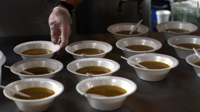 Food assistance programs across the country are feeling the effects of the economy: fewer donations and more mouths to feed.