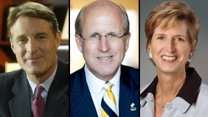 Authors, left to right, Sen. Evan Bayh, David Walker and Christine Todd Whitman