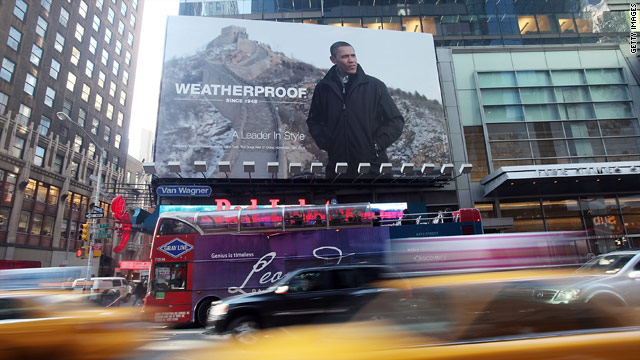 A billboard ad with a photo of President Obama wearing a Weatherproof brand jacket hangs in Times Square January 7.
