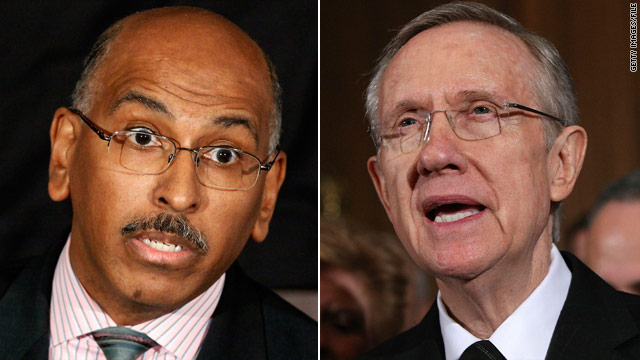 Republican Party Chairman Michael Steele, left, is calling for Sen. Harry Reid to step down over a remark about Barack Obama.