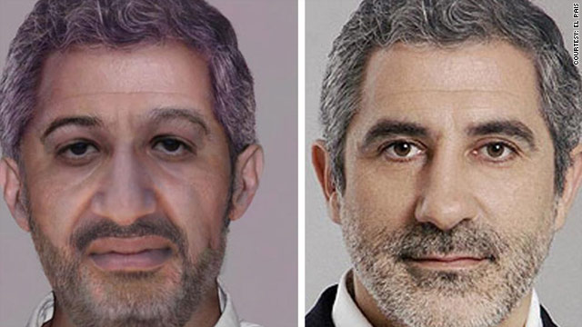 The FBI-altered image of Osama bin Laden on the left borrows the hairline and forehead of Spanish politician Gaspar Llamazares on the right.