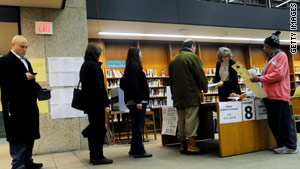 Voters wait in line Tuesday at the Boston Public Library in the special election to fill Massachusetts' U.S. Senate seat.