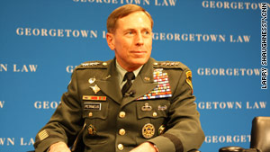 Gen. David Petraeus spoke with students at Georgetown Law School.