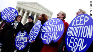 Pro-choice advocates protest in front of the U.S. Supreme Court building Friday in Washington, D.C.