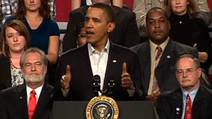 President Obama speaks about health care Friday at a community college in Ohio.