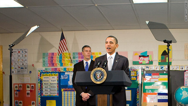 President Obama requests more stimulus money for education at a school in Falls Church, Virginia, on January 19.