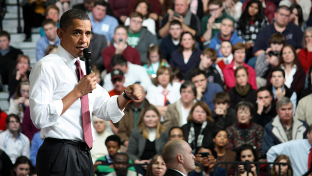 "It's ""absolutely critical that Congress acts"" to help pass job creation legislation, Obama said at the town hall in Nashua."