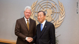 U.N. Secretary-General Ban Ki-moon asked President Clinton to oversee aid efforts and reconstruction in Haiti.