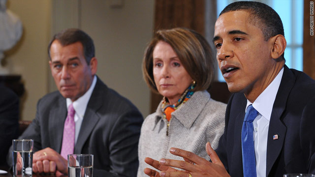 President Obama discusses jobs on Tuesday with House Minority Leader John Boehner, left, and House Speaker Nancy Pelosi.