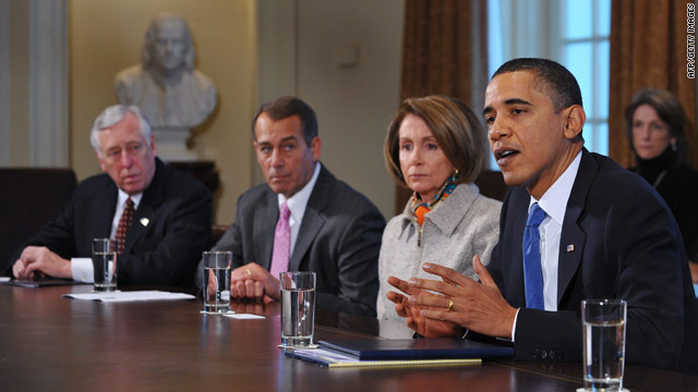 President Obama meets with congressional leaders, including (from left) Reps. Steny Hoyer, John Boehner and Nancy Pelosi.