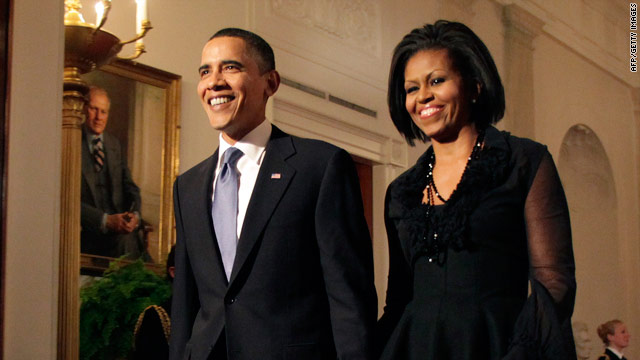 President Obama and first lady Michelle Obama arrive Tuesday at the concert honoring songs of the civil rights movement.