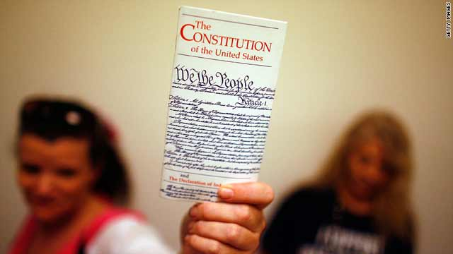 States rights activists use the Constitution's Tenth Amendment to support their cause.