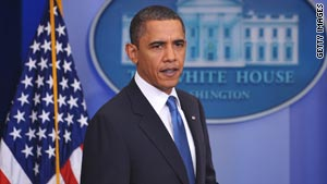 President Obama speaks in the Brady Briefing Room of the White House on February 9.