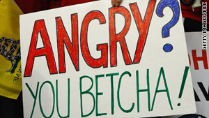 A sign at an anti-health care reform rally in December expresses the feelings of many, a new poll suggests.