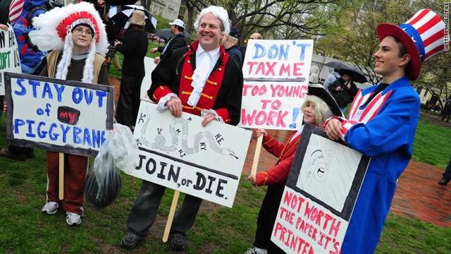 Tea Party demonstrators gather in Lafayette Park during a rally in Washington in April 2009.