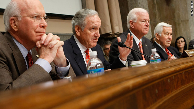 Sen. Patrick Leahy, far left, attends a committee meeting in January. Sen. Richard Lugar is on the far right.
