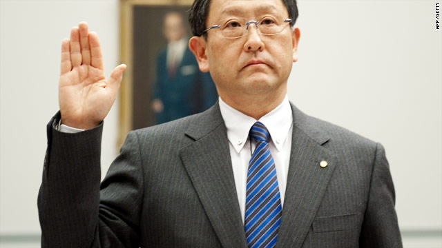 Toyota Motor Corporation President and CEO Akio Toyoda is sworn in before his testimony on Tuesday
