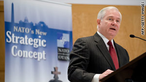 U.S. Secretary of Defense Robert Gates speaks at a meeting of NATO officials in Washington on Tuesday.