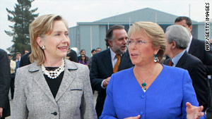U.S. Secretary of State Hillary Clinton, left, talks with Chilean President Michelle Bachelet in Santiago, Chile, on Tuesday.