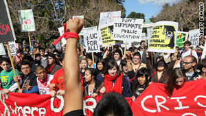 Students and professors in Berkley, California, protest funding cuts and tuition increasesThursday.