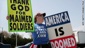 A member of the Westboro Baptist Church protests outside a Veterans Affairs hospital in Maywood, Illinois, in 2006.