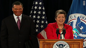 Homeland Security Secretary Janet Napolitano announces the nomination of Robert A. Harding, left, to head TSA.