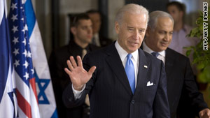 Vice President Joe Biden and Israeli PM Benjamin Netanyahu arrive to speak to the media in Jerusalem on Tuesday.