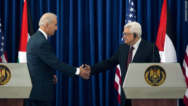 U.S. Vice President Joe Biden shakes hands with Palestinian Authority Presdient Mahmoud Abbas on Wednesday.