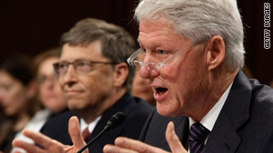 Microsoft Chairman Bill Gates, left, and former President Clinton testified in Washington on Wednesday.