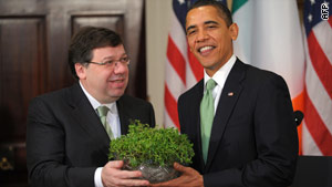 President Obama and Irish Prime Minister Brian Cowen take part in a Shamrock Ceremony on Wednesday.