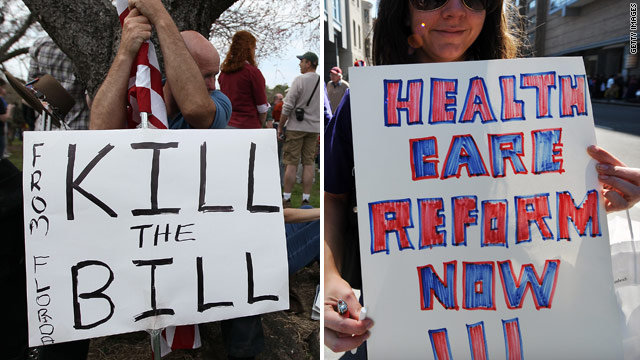 Protesters on both sides of the health care bill debate have voiced strong feelings.