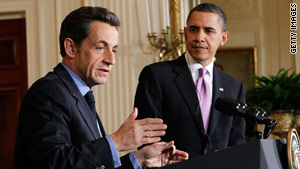 French President Nicolas Sarkozy, left, and President Obama hold a joint news conference after their meeting on Tuesday.
