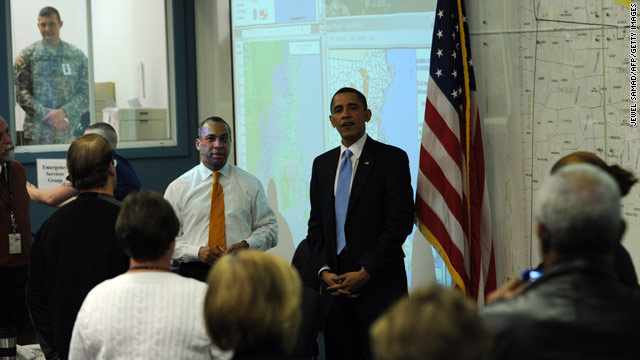 President Obama visited workers and staff of the Massachusetts Emergency Management Agency on Thursday.