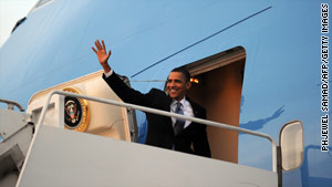 President Obama boarded Air Force One Wednesday evening to head to the Czech Republic.