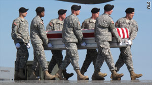 The remains of a service member are returned to Dover Air Force Base in October.