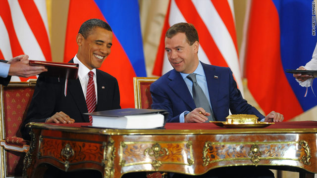 U.S. President Barack Obama, left, and Russian counterpart Dmitry Medvedev at the START signing ceremony.