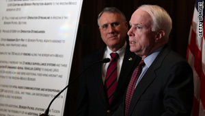 Sens. Jon Kyl, left, and John McCain say an increase in illegal immigration is raising crime rates.