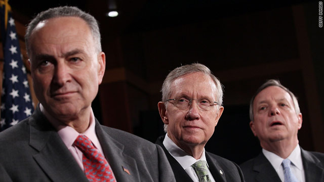 From left, Sens. Chuck Schumer, Harry Reid and Dick Durbin held a news conference on financial reform on April 22.