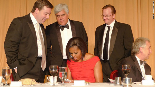 CNN's Ed Henry helps first lady Michelle Obama -- with Jay Leno and Robert Gibbs -- send out her first tweet.