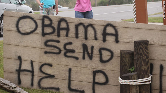 A message to President Obama in Venice, Louisiana, during his visit Sunday.