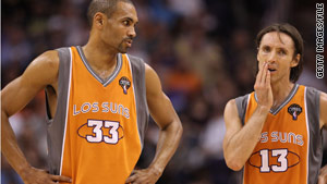 "The Phoenix Suns, seen here in March, will be wearing their ""Los Suns"" uniforms again."