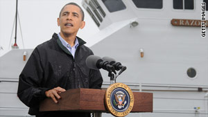 President Obama addresses the media Sunday in Venice, Louisiana.