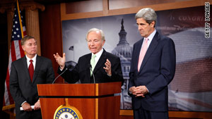 Sens. Lindsey Graham, Joe Lieberman and John Kerry talk about climate change legislation in December.