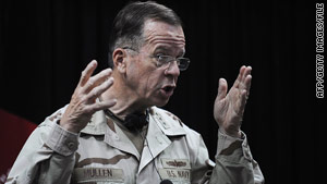 Adm. Michael Mullen, chairman of the Joint Chiefs of Staff, spoke with the chief of the Pakistani army Sunday.