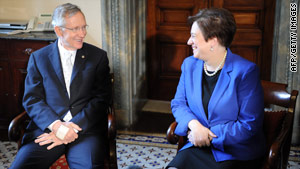 Supreme Court nominee Elena Kagan speaks with Senate Majority Leader Harry Reid on Capitol Hill on Wednesday.