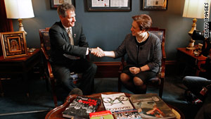 GOP Sen. Scott Brown meets with Supreme Court nominee Elena Kagan in his office Thursday in Washington, D.C.