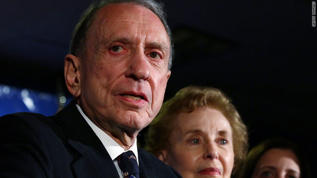 Sen. Arlen Specter, with his wife, Joan, at his side, concedes defeat Tuesday night in Philadelphia, Pennsylvania.