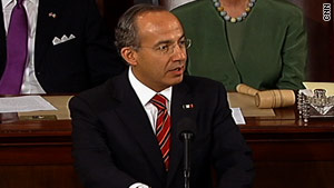 Mexican President Felipe Calderon speaks Thursday to a joint meeting of the U.S. Congress.